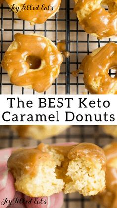 Mini Brown Butter Caramel Donuts Keto Low Carb GlutenFree GrainFree SugarFree THM S These Mini Brown Butter Caramel Donuts are the perfect addition to your brunch The d. Low Carb Donut, Low Carb Keto, Low Carb Desserts, Low Carb Recipes, Flour Recipes, Protein Recipes, 90 Second Keto Bread, Keto Donuts, Keto Pancakes