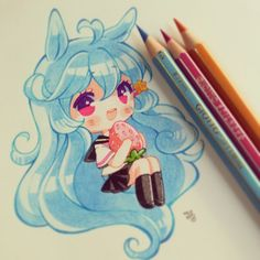 Painted with pencils giotto and plain paper n.n ♥♥ #tradicional #pencilgiotto…