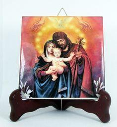 The Holy Family, religious gifts, ceramic tile handmade in Italy, catholic art, devotional icon, Child Jesus, Saint Joseph, Virgin Mary