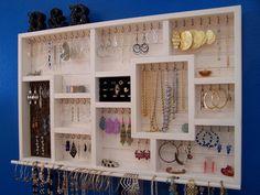 Bracelet Bar Ring Holder White Washed Jewelry Organizer
