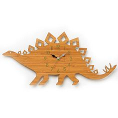 Dinosaur Clock, Stegosaurus Modern Wall Clock, Childrens Clock, Laser Cut By Owl…