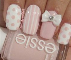 Pink & White Nails with Polka Dots, Strips and Studded Bow.