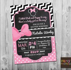 Hey, I found this really awesome Etsy listing at https://www.etsy.com/listing/266345476/minnie-mouse-baby-shower-invitation