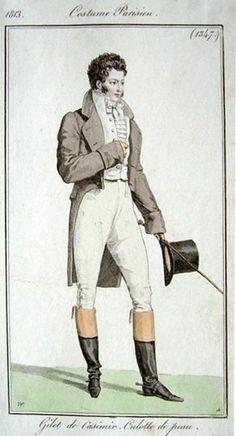 A fashionable buck in Regency England.