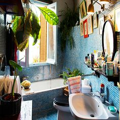 Roseland Greene: plants in the bathroom with tile