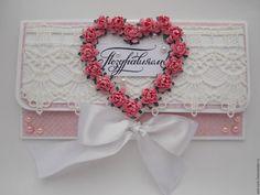 Купить Конверт ручной работы - Конверт для денег, поздравление, кружево, атласные ленты, розовый