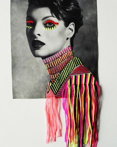 Really interesting use of colour and embroidery techniques to depict emotion onto a photograph. The hanging pieces falling off the edge of the portrait give a surreal and more rustic edge to a very styled image. Kunst Inspo, Art Inspo, Collage Art, Collages, Creation Art, Paint Photography, Photocollage, Embroidery Art, Textile Art