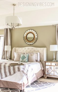 grey neutral bedroom. Grey and turquoise bedroom with mirrored furniture.