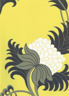 Berry Flower Wallpaper Wallpaper with a contemporary floral design in black grey and white on lemon yellow