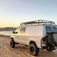 Mike Goubeaux found new van buddies on the shores of Lake Powell - van life 4x4 Camper Van, 4x4 Van, Truck Camping, Van Camping, Ambulance, Ford Van Conversion, Lifted Van, Gmc Safari, Dodge Van