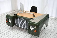 Land Rover office desk custom bespoke up-cycled car furniture hand made unique Car Part Furniture, Automotive Furniture, Automotive Decor, Unique Furniture, Landrover, Man Cave Garage, Desk Organization, Car Wash, Range Rover