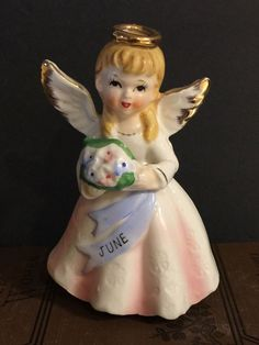 Vintage Birthday Angel June Gold Halo Wings Bouquet Made Japan Figurine Gift