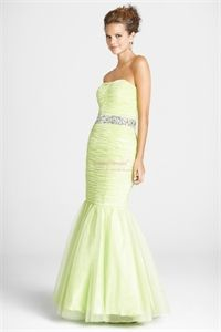 Lime Tulle Mermaid Drop Waist Pleated Strapless Beading Formal Gowns