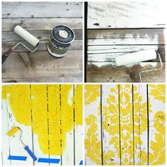 Not Just a Housewife-stenciled wooden fence for an outdoor backdrop.