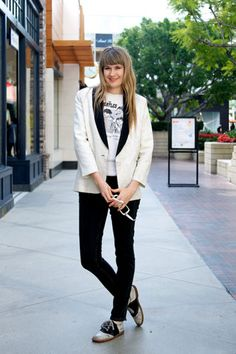 love the blazer + saddle shoes