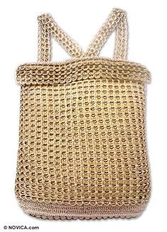 Recycled soda pop top backpack-style purse