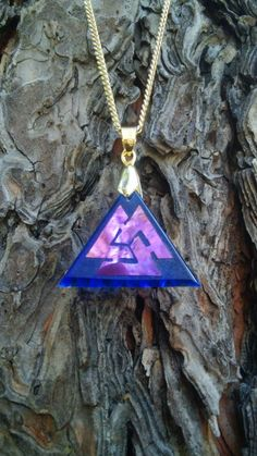 Valknut cold worked dichroic/iridescent glass jewel by Richard Elvis Etsy