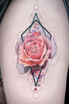 Awesome Pink Rose Tattoo