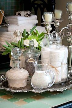 40 Beautiful Bathroom Vanity Tray Decor Ideas Your tray is nearly finished. If it comes to locating the correct size tray there are lots of choices. Both kept neat, organized trays in addition to their furniture where they lined up… Continue Reading → Candle Stand, Candle Jars, Candle Sticks, Bathroom Vanity Tray, Bathroom Canvas, Master Bathroom, French Bathroom, Shiplap Bathroom, Diy Vanity