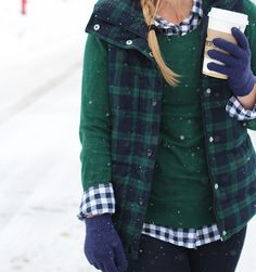 Plaid Puffer Vest and blue plaid shirt for winter.
