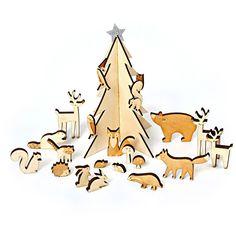 Calendrier de l'Avent animaux de la forêt en bois  - Annikids Noël