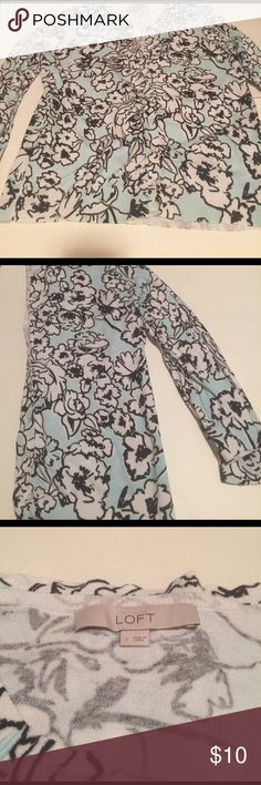 🌸Loft mint, black, and white floral sweater🌸 This Loft cardigan is size large. It is mint green background with white flowers outlined in black. Worn a couple of times. Light pilling under the arms. *smoke free, cat friendly home* LOFT Sweaters Cardigans
