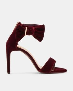 79b96cc50a21d0 Ted Baker Bow detail leather sandals Oxblood Designer Boots