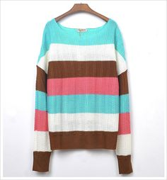 korean fashion loose shirt colored striped knit tops Y699 [Y699] $10.79 : Yuki Wholesale Clothing - Wholesale Korean Fashion,Japanese Clothing Wholesale,Wholesale Handbags