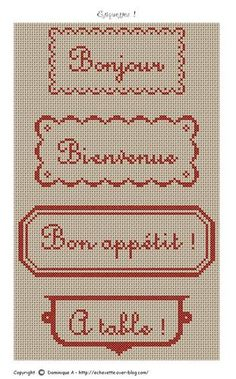 lol my hs french teacher would be so proud Cross Stitch Letters, Cross Stitch Cards, Cross Stitching, Cross Stitch Embroidery, Cross Stitch Kitchen, Linen Shop, Bead Weaving, Stitch Patterns, Needlework
