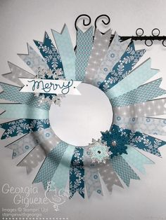 Make a Holiday Wreath using Winterfrost Designer Paper! - Stampin with Georgia