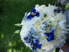 I love the variety in this bouquet - blue delphiniums, and white peonies, roses, and lisianthus. So beautiful! Blue Wedding, Spring Wedding, Wedding Flowers, Dream Wedding, Bride Bouquets, Bridesmaid Bouquet, White Peonies, White Flowers, Blue Delphinium