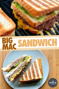 You will love the Big Mac Sandwich from this OptiGrill recipe, I promise! I'm not a fan of McDonald's at all, but when I did, I preferred to eat the Big Mac there. Big Sandwich, Sandwiches For Lunch, Wrap Sandwiches, Grill Sandwich, Big Mac, Ideas Sándwich, Homemade Burgers, 1000 Calories, Le Diner