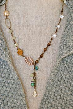 Gabiella. romantic, crystal beaded,gemstone,rhinestone drop necklace. Tiedupmemories