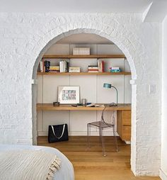 Wouldn't this be a nice place to work on this rainy Tuesday? Regram from @designhunting: The basement study in this Fort Greene brownstone takes advantage of original structural elements -- here, the foundation wall frame opens into a study. : @fdphotonyc