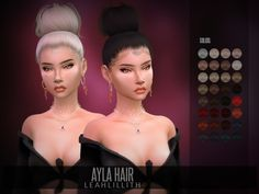 sims 4 cc // custom content big bun hairstyle // the sims resource // Leah Lillith's LeahLillith Ayla Hair Hair The Sims 4, Sims 4 Black Hair, The Sims 4 Pc, Sims Hair, Sims 4 Cas, Sims Cc, Mods Sims, Sims 4 Game Mods, Sims Games
