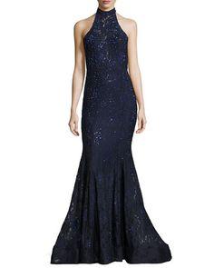 Sleeveless Beaded Lace Mermaid Gown, Navy