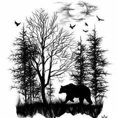 Forest Silhouette Tattoo ideas about forest tattoo sleeve on . Wolf Tattoos, Bear Tattoos, Forearm Tattoos, Body Art Tattoos, Sleeve Tattoos, Tattoo Hip, Tattoos Skull, Silhouette Tattoos, Tatouage Delta