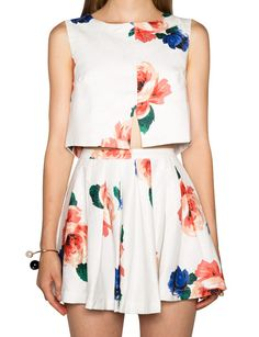 Floral Two Piece Dress - Cute Fall Coords Skirt Set - $112