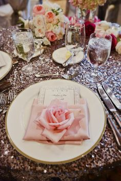 Pink Rose Place Setting and Sparkly Tablecloth