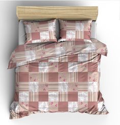 August Grove This cozy Duvet Cover Set is perfect for sleeping as it offers a comfortable and breathable design with a stylish look. Duvet Sets, Duvet Cover Sets, Velvet Duvet, Patchwork Patterns, Cotton Duvet, Hazelwood Home, Decoration, Red And Pink, Design