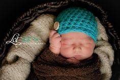 Baby Hats Baby Boy Hats Crochet Baby Hats Button Newborn Baby Boy Hats Newborn Photography Props Baby Hats Photo Props Boys Turquoise Blue. $14.00, via Etsy.