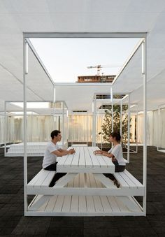 Ambient pavilion by Umwelt featured metal frames and roof holes Urban Furniture, Street Furniture, Architecture Design, Chinese Architecture, Architecture Office, Futuristic Architecture, Temporary Structures, Office Interiors, Urban Design
