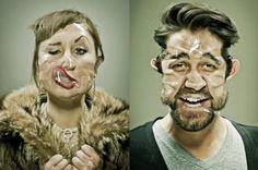 Fotógrafo distorce o rosto de modelos usando fitas adesivas