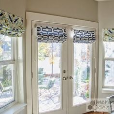 DIY Roman Shades for French doors with instructions for mounting w/o drilling into steel door.
