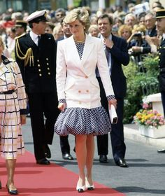 Diana wore a puff-ball skirt and white blazer to the 1987 Cannes Film Festival
