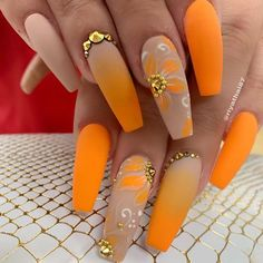 Want some ideas for wedding nail polish designs? This article is a collection of our favorite nail polish designs for your special day. Nail Art Orange, Orange Nail Designs, Orange Nails, Orange Acrylic Nails, Coffin Nails Matte, Best Acrylic Nails, Gel Nails, Marble Nails, Dope Nails