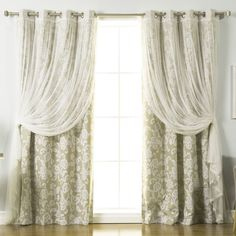 Ghia Nature/Floral Semi-Sheer Thermal Grommet Single Curtain Panel