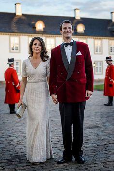 D.K.H. Prins Joachim og Prinsesse Marie ankommer til Fredensborg Slot. Birthday Dinner for Queen Margrethe , April 2015.