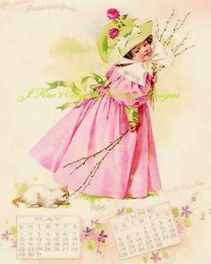 Cute Maud Humphrey Vintage REPRO Girl in Pink w Kitten Fabric Block 5x7 | eBay