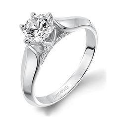 Shop online ARTCARVED RZZ-00058 Solitaire Palladium Diamond Engagement Ring at Arthur's Jewelers. Free Shipping